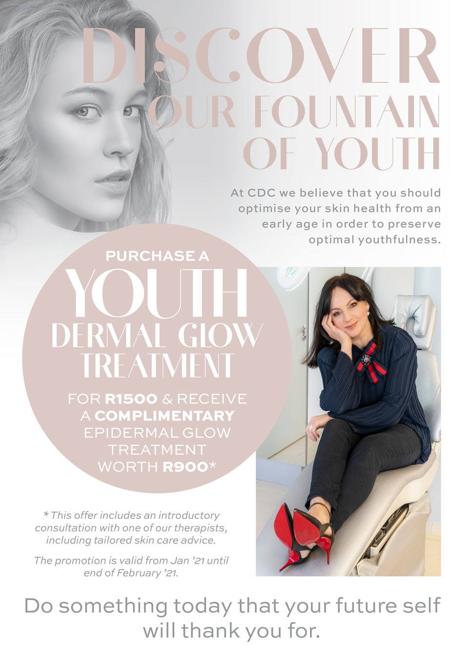 Purchase a youth dermal glow treatment for R1500 & receive a complimentary Epidermal glow treatment worth R900